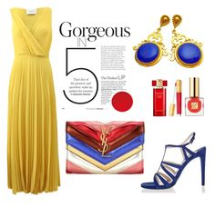 """Blue, Yellow, Red"" by evanangel ❤ liked on Polyvore featuring Cédric Charlier, Prada, Yves Saint Laurent and Estée Lauder"