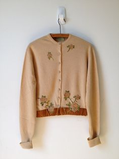 vintage 50s camel embroidered roses and velvet cardigan large by vintspiration, $32.00