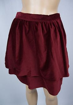 STEVEN ALAN New Marlow Skirt 2 XS Holiday Layered Wine Red Velour Mini $198