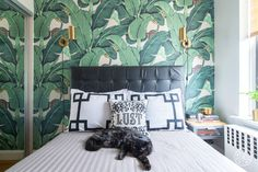 """Hollywood Glamour in Manhattan - """"Joey wanted a fun wallpaper behind the bed and has always loved the classic Martinique banana leaf wallpaper. It was a large repeat which makes a really great statement!"""""""