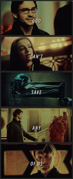 """God can't save anyone. It isn't elegant, and elegance is more important than suffering."" ~ Will Graham on the gospel according to Hannibal.. Source: color-division.tumblr"