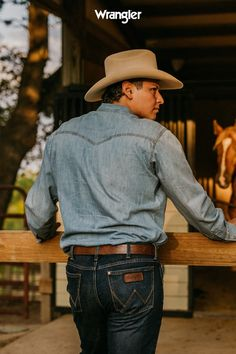 Denim on denim with our Retro Skinny & Long Sleeve Western Snap #WranglerJeans #Fall2020 #WesternFashion Fashion 2020, Autumn Fashion, Denim Shirt With Jeans, Wrangler Jeans, Vintage Denim, Cowboy Hats, Fall Outfits, Posters, Skinny