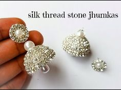 How to make silver style silk thread jhumkas Silk Thread Earrings Designs, Silk Thread Bangles Design, Silk Thread Necklace, Thread Jewellery, Jewellery Diy, Jewellery Making, Jewelry Box, Handmade Jewelry Tutorials, Jewelry Making Tutorials