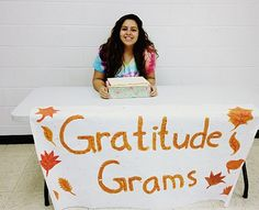 "Key Club has been busy selling ""gratitude grams"" during lunch periods and creating schoolwide ""gratitude walls."" For $1 each, gratitude grams include a bag of candy with a card so the sender can write a message to someone he or she is thankful for. Club members also created two gratitude walls: places where students can write down what they're thankful for on sticky notes and stick them to a board."