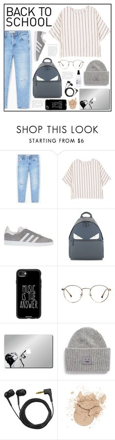 """""""BTS"""" by belleshines ❤ liked on Polyvore featuring MANGO, adidas, Fendi, Casetify, Acne Studios, Sennheiser and OY-L"""