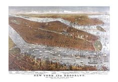 New York Manhattan and Brooklyn: w/ Jersey City & Hoboken waterfront 1877.  Fully Restored! No Black link in the middle, printed rips!