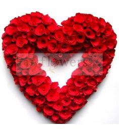 Heart shape arrangement of 100 Red Roses. #PremiumArrangement #EasyFlowersHyderabad