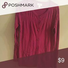 Rasberry long sleeve longer fit cardigan LOFT Raspberry long sleeve hits below hips Ann Taylor Loft cardigan with front pockets and gathers. Cotton. LOFT Sweaters Cardigans