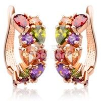 Barbara丨18K Rose Gold Plated Gold Unique Stud Earrings with Multicolor AAA Zircon Stone Flower Earrings