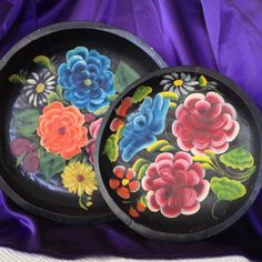 Batea Bowls Mexican Folk Art Toleware Dough by VisualaromasVintage