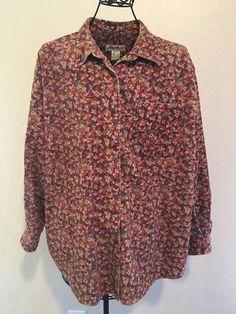 b2d9735e672ccc Eddie Bauer womens button down shirt red floral corduroy size Large  #fashion #clothing #