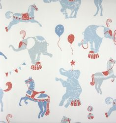 Linn Circus Fabric A circus themed children's printed curtain fabric featuring performing elephants, horses and sea-lions with balloons in light blue and coral.