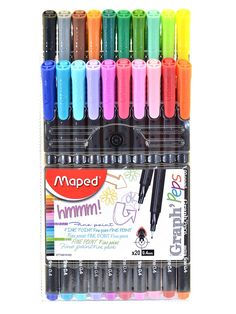 MAPED Graph'Peps Felt Tipped Fine Point Pen Sets: The Graph'Peps Fine Liner pens have an ergonomic triangular design for the utmost in writing comfort.