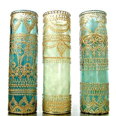 Gift Set of Three Intricately Designed, Hand Painted and Poured Tall Aromatherapy Container Candles