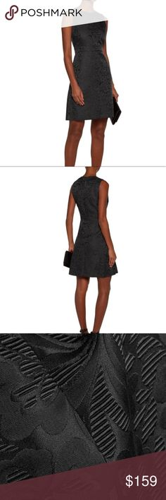 THEORY | Jacquard Dress NWT. SIZE 8. Black Jacquard Print. Sleeves. Fit and flare style. Material content 46% Polyester 46% Cotton 8% acrylic. Partially lined. Theory Dresses
