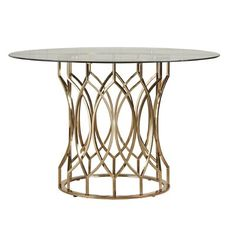 Metal Geometric Base Dining Table - Dining Table with Round Glass Top - Antique Gold Glass Round Dining Table, Counter Height Dining Table, Solid Wood Dining Table, Dining Table In Kitchen, Glass Table, Dining Tables, Kitchen Nook, Dining Chair, Coffee Tables For Sale