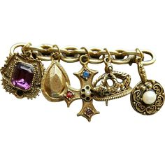 Purple Rhinestone Charm Brooch Crown French Theme. ON SALE