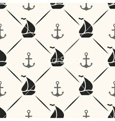 Seamless pattern of anchor sailboat shape and line vector by Kannaa on VectorStock®