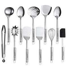 Maphyton Stainless Steel Utensils 11 Pieces Kitchen Utensil Set for Cooking with Spatula Kitchen Utensils List, Cooking Utensils Set, Kitchen Utensil Set, Kitchen Tools, Kitchen Appliances, Stainless Steel Utensils, Stainless Steel Kitchen, Cooking Stores, Must Have Kitchen Gadgets