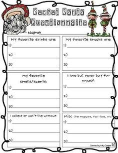 SECRET SANTA INFORMATION SHEET - TeachersPayTeachers.com | Want ...