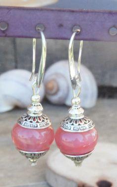 RESERVE N Boucles d'oreilles perles de verre filé au chalumeau rose CROCHETS ARGENT 925 : Boucles d'oreille par liloo-creations