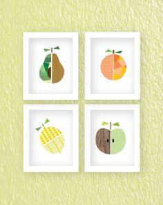 Four fruit prints apple orange pear lemon Buy 3 get 1 by HappyYakk