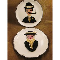 Victorian Felt Man and Woman Matching Plates by 4GetMeNotTreasures, $20.00