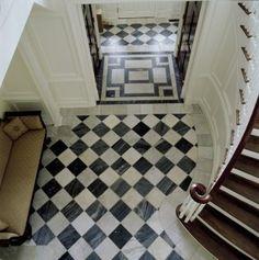 Antique European Venetian Checker black and white marble tiles and