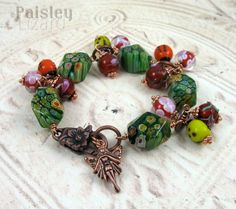 Fairy Charm Bracelet whimsical glass flower beads bracelet by PaisleyLizardDesigns
