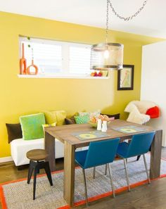 Adorei essa cor de parede! The Look For Less: Amy & Todd's Dining Room On A Budget