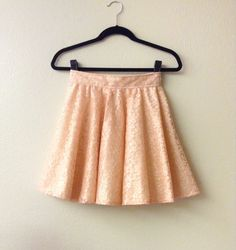 Peach lace skater skirt cream cotton lining by MelissaLynnHaner, $68.00