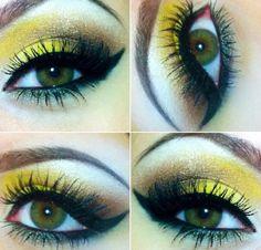 Yellow Makeup minion make up? Batgirl Makeup, Batman Makeup, Minion Makeup, I Love Makeup, Beauty Makeup, 80s Makeup, Makeup Style, Bumblebee Makeup, Yellow