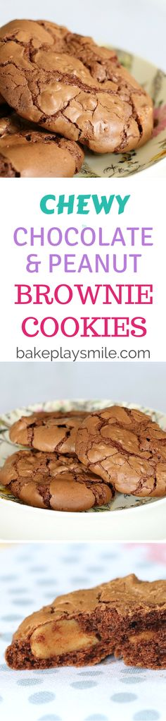 These are our favourite cookies!! Chocolate & Peanut Brownie Cookies - they're rich and chewy just like a brownie but with a perfectly flakey top!!! #chocolate #peanut #brownie #cookies #biscuits #recipe #conventional #thermomix
