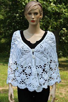 Crochet Knitting White Shawl for Women by CasadeAngelaCrochet, $110.00