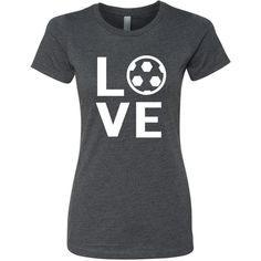 Soccer Love T-Shirt Sports Team Mom Girls Shirt ($20) ❤ liked on Polyvore featuring tops, t-shirts, black, women's clothing, sport t shirt, sports tops, sports t shirts, black shirt and sport shirts