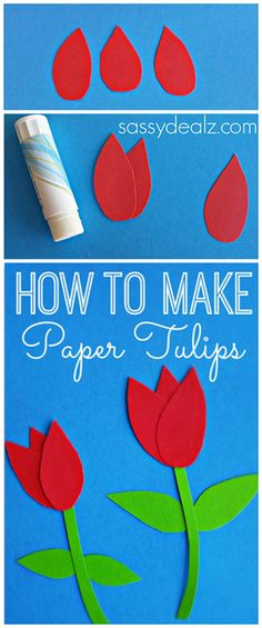 How to Make Paper Tulips #Spring kids craft or for a Mother's Day card  #mothersday