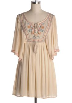 A touch of bohemian. Pretty and airy cream dress dress with empire waist, dolman sleeves, and embroidered details. 100% rayon Slightly stretchy Bottom part lined Hand wash cold; hang dry Indie, Retro, Party, Vintage, Plus Size, Convertible, Cocktail Dresses in Canada NEW: Wanderlust Dress -