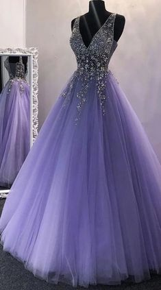 A Line V Neck Sequins Purple Tulle Long Prom Dresses, Lilac Beaded Long Formal Evening Praty Dresses Source by morievent prom dresses long Puffy Prom Dresses, Lilac Prom Dresses, Pretty Prom Dresses, Tulle Prom Dress, Quince Dresses, Lilac Dress, Formal Evening Dresses, Dress Black, Purple Quinceanera Dresses