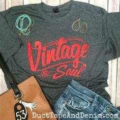 Vintage Soul Short Sleeve T-Shirt - Red -- Perfect for a day at the flea market or antique shopping with friends.
