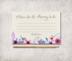 Baby Shower Advice Card Printable, Floral Boho Advice Card, Advice for Mom to be, Printable Advice for the new Mommy, Girl Baby Shower Games - pinned by pin4etsy.com