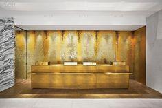 Glass Mosaic tile lines the basement alcove housing a cash-wrap desk. Guerlain, by Peter Marino Architects