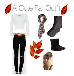 """""""A Cute Fall Outfit🍁🍂🍃"""" by amanda-isabel ❤ liked on Polyvore featuring ASOS, Miss Selfridge, Forever 21, UGG Australia and France Luxe"""