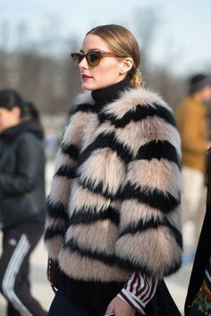 Olivia Palermo following the Gucci fur trend