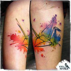 Watercolor crane by Ewa Sroka