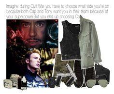 """Imagine during Civil War you have to choose what side you're on because both Cap and Tony want you in their team because of your superpowers. But you end up choosing Cap"" by xdr-bieberx ❤ liked on Polyvore"