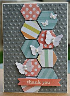 Sheri Feypel - love this...  Embossing and the hexagons...  hexagons suddenly seem to be 'all the rage'!