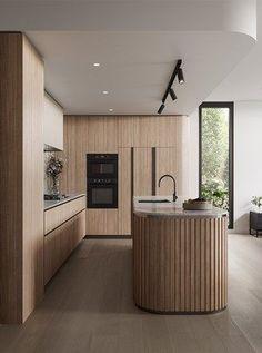 Kitchen Room Design, Modern Kitchen Design, Home Decor Kitchen, Interior Design Kitchen, Home Kitchens, Modern Kitchen Island, Interior Livingroom, Contemporary Interior Design, Kitchen Ideas