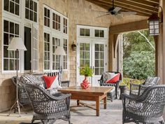 Norman Askins in Highlands, North Carolina - The Glam Pad Outdoor Rooms, Outdoor Living, Outdoor Decor, Outdoor Furniture, Outside Room, Wicker Chairs, Mountain Homes, Screened In Porch, Cottage Homes