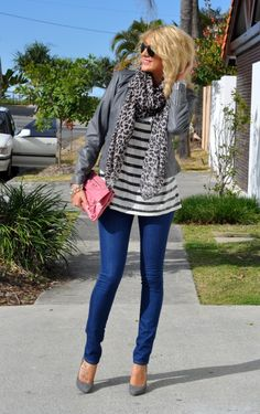 Fall Outfit: Grey/Gray Leather Jacket + Grey/Gray Leopard Scarf + Striped Flowy Shirt + Medium Wash Skinnies + Pumps + Pink Clutch
