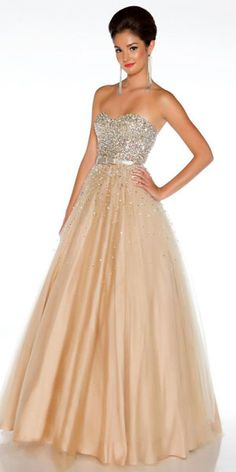 Strapless Gold Ball Gown by Tony Bowls | Sexy, Gowns and Tony bowls